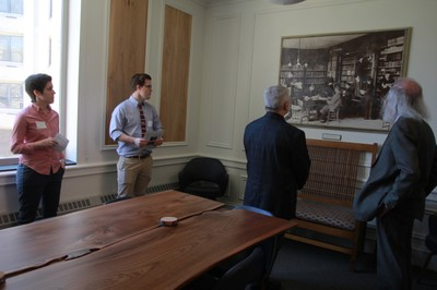 The Elm room features a photograph of Fred Lewis Pattee teaching in the Old Main Library, and wall panels and a table made from Penn State's Elm wood